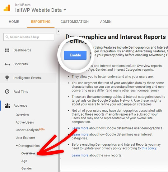 enable demographics and interests reporting