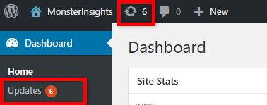 Updating plugins via the updates menu