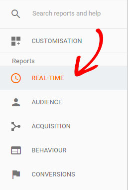 real time view in google analytics