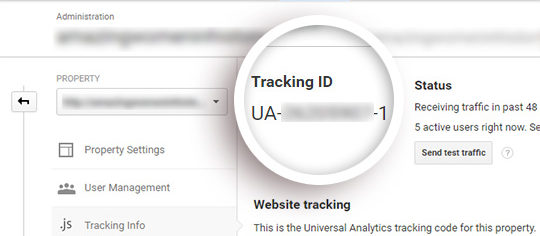 Your tracking ID is displayed, starting with UA