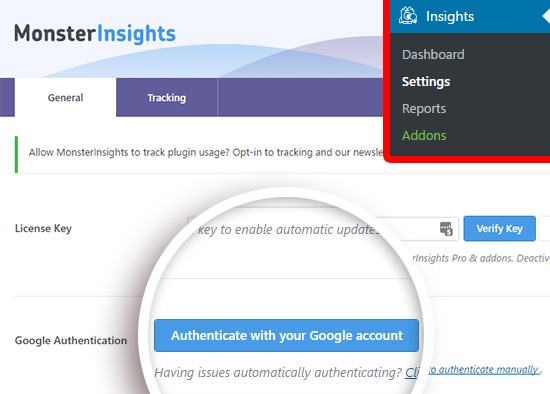 Click to begin authenticating your Google Analytics account