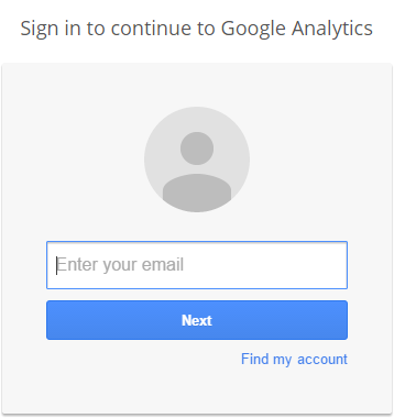 Enter your email address to sign in to Google Analytics
