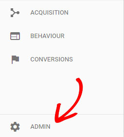 click admin in Google Analytics