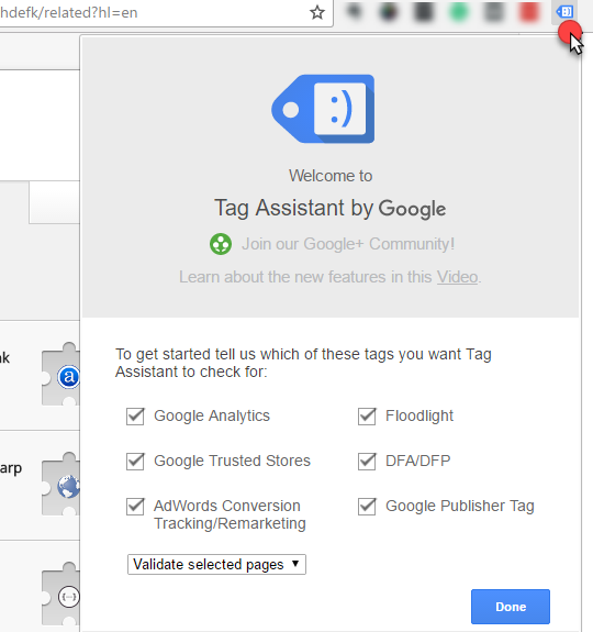 select done on tag assistant by Google