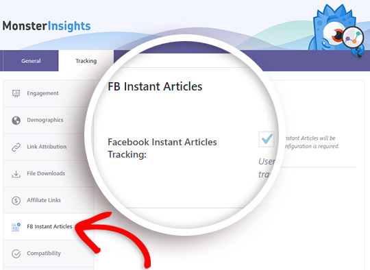 enable facebook instant articles tracking in google analytics
