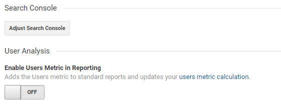 "Click: ""adjust search console"""