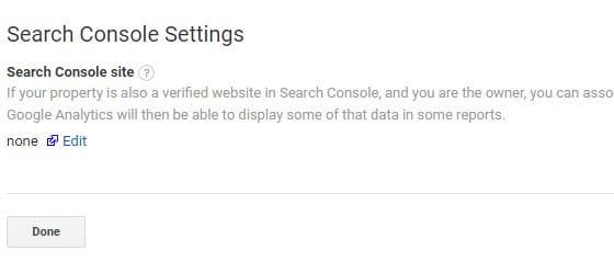 "Click: ""Edit Search console settings"""