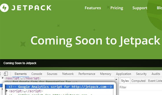 jetpack uses google analytics
