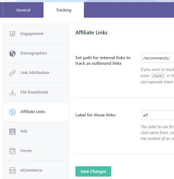 affiliate link tracking in wordpress