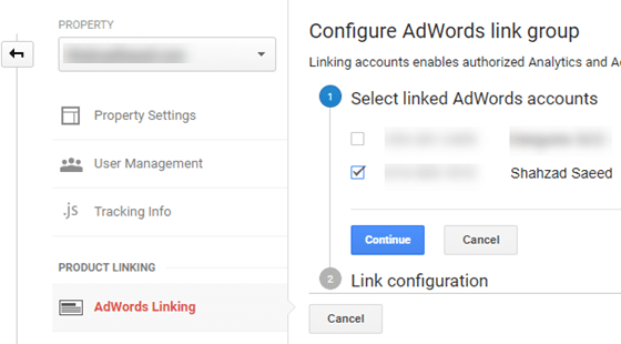 Select your Adwords Account