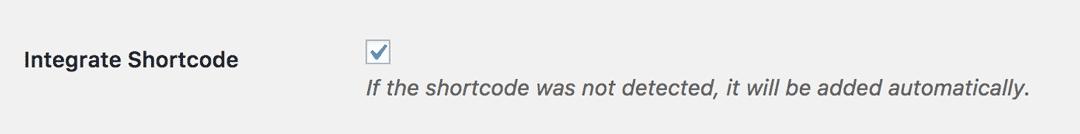 Integrate Shortcode