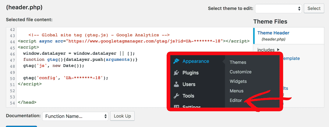 Appearance - Editor - header.php
