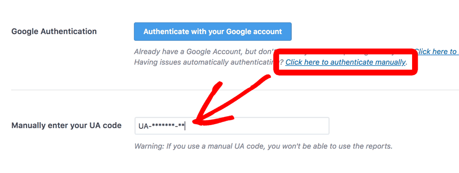 Click to Authenticate Google Analytics Manually