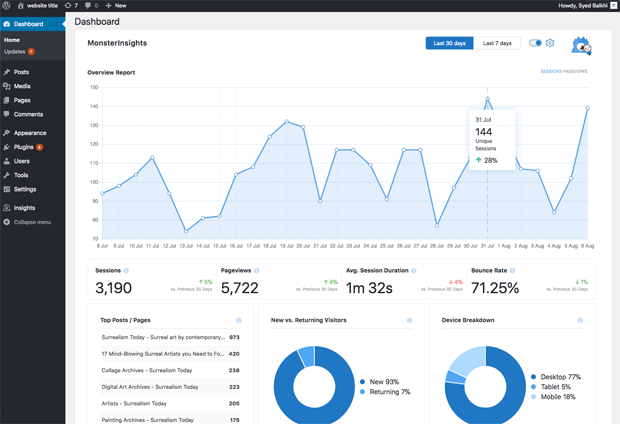 Google Analytics Dashboard Widget for WordPress Full Screen