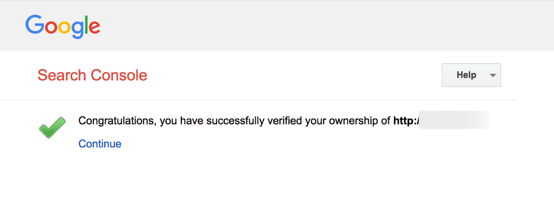 Congratulations, you have successfully verified your ownership of yoursite.com