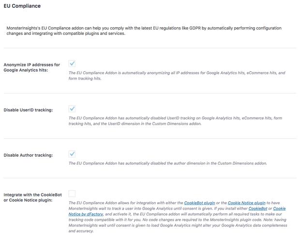 EU Compliance Addon Screenshot