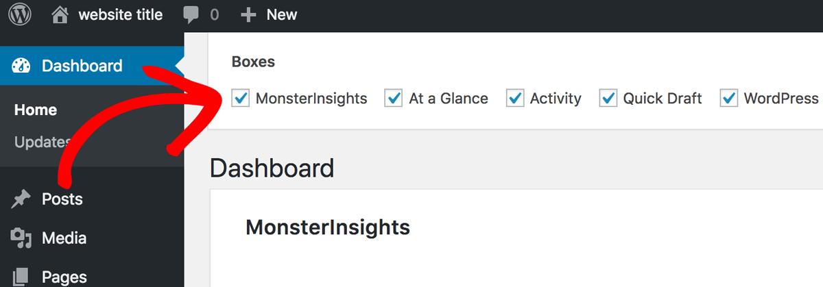 Deselect MonsterInsights Dashboard Widget